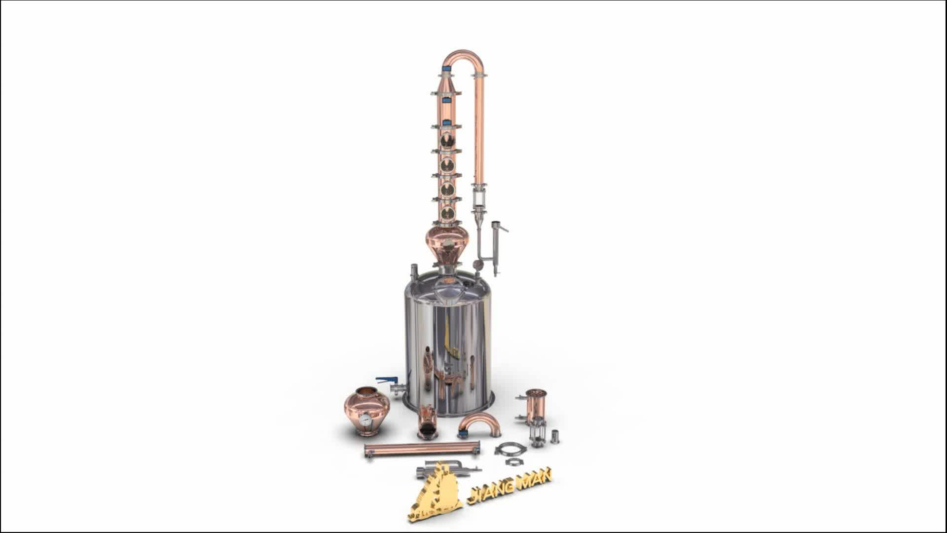 [JiangMan]-शराब प्रसंस्करण उपकरण गर्म बिक्री अमेरिका डिजाइन 50L 100L 150L 200L 4 ''6'' तांबा भाटा स्तंभ शराब खींचनेवाला