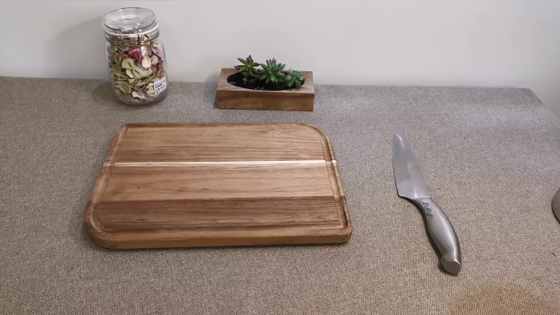 굿 Quality NON-Slip 큰 넛 나무 Cutting board 주방 유기 마 Block 고기 집게를 제공 보드 와 주스 홈 볼 봉인