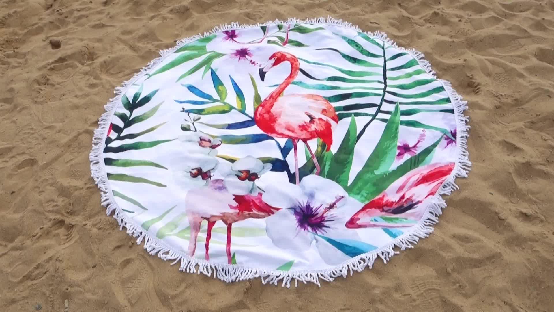 Groothandel Custom Print Microfiber Flamingo Ronde Mandala Strandlaken