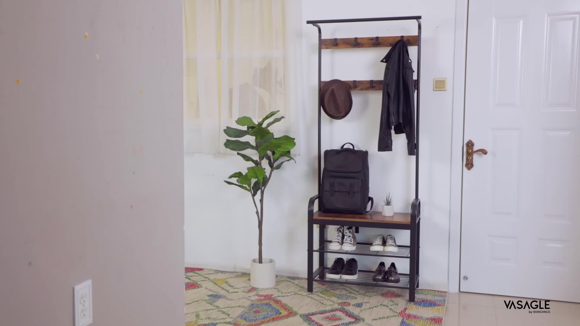 Perchero de madera para entrada de ropa, perchero para colgar, estante con gancho, banco y estante para zapatos de 3 niveles