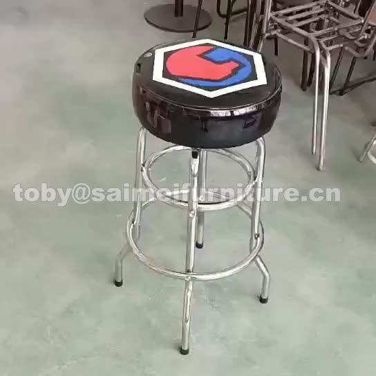 Tunggal atau Ganda Cincin Logam Chrome Kaki Kursi Bar dengan Vinyl/PVC/Kain/Kulit Kursi