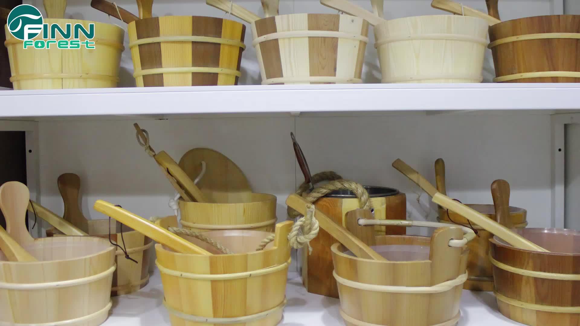 ห้องอบไอน้ำซาวน่าอุปกรณ์ซาวน่าไม้ห้องอาบน้ำฝักบัวถัง