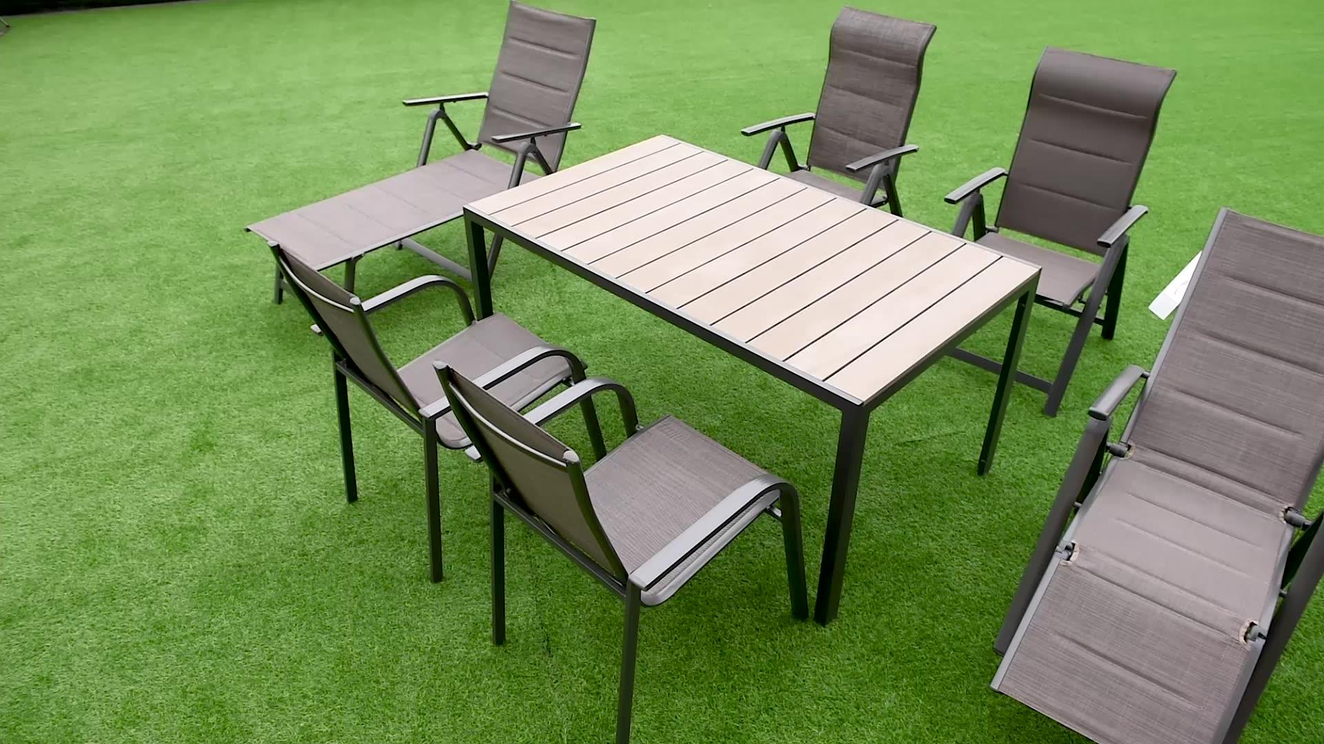 आउटडोर बालकनी एल्यूमीनियम Teslin उद्यान तह कुर्सी