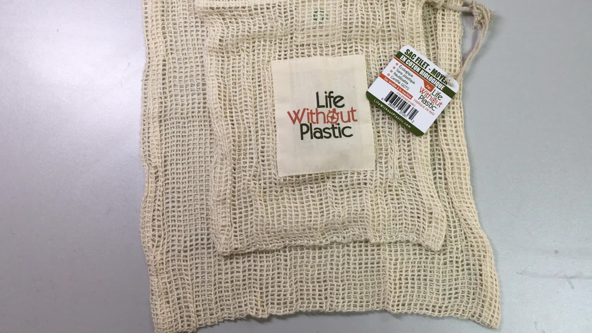 Eco Reusable Cotton Net Vegetables String Shopping Fruit Storage Mesh drawstring Bag
