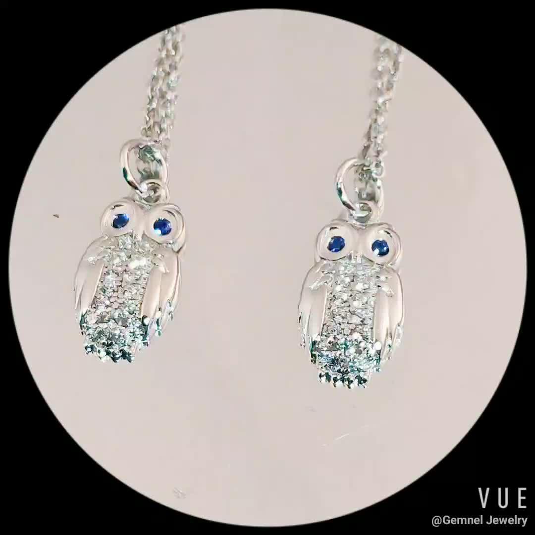 925 jóias de Prata partido atacado dainty diamante esmeralda pingente coruja colar