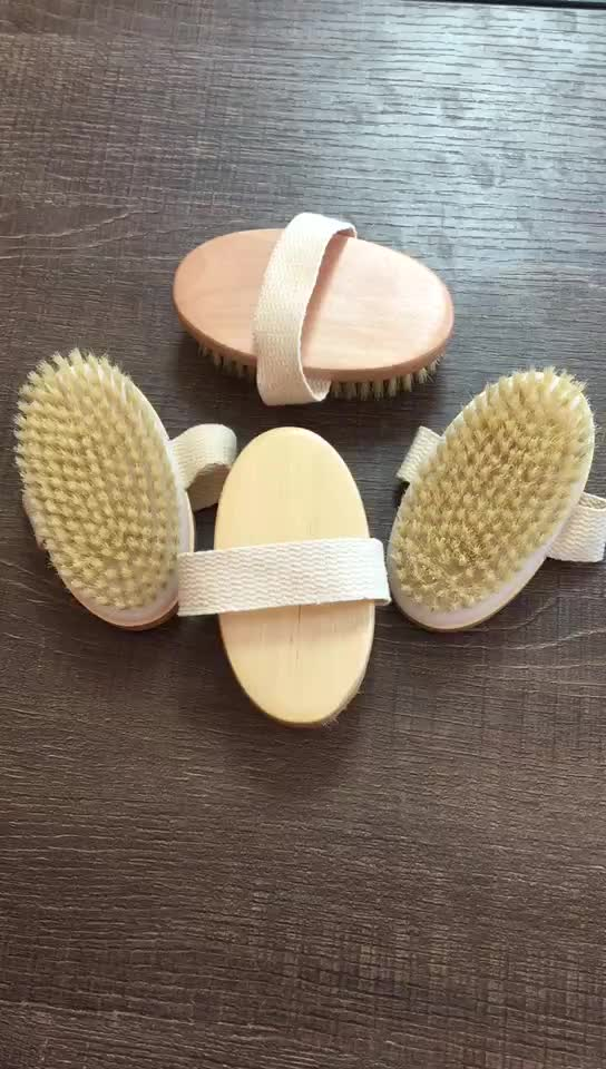 Promotional Wood Natural Bristle Dry Skin Bath Body Brush With Hand Band For Nice Grip