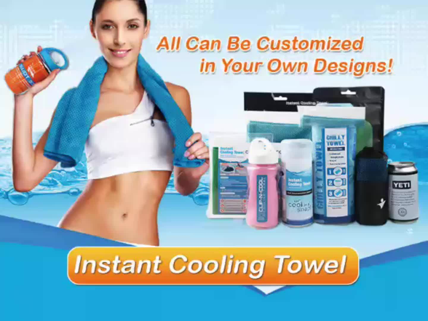 READY TO SHIP Huunana Sweat & Moisture Absorption Cooling Face Towel Polyester Cool Snap Towel