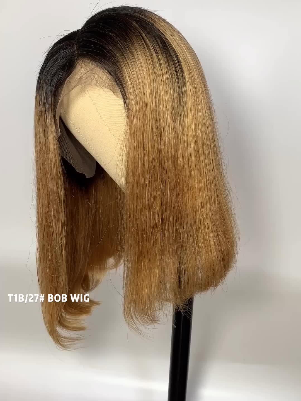 ทรงผม cuticle aligned Virgin wigs ผมผู้หญิง Big bobs เซ็กซี่ bobs ตรงวิกผมลูกไม้ด้านหน้าด้านหน้า