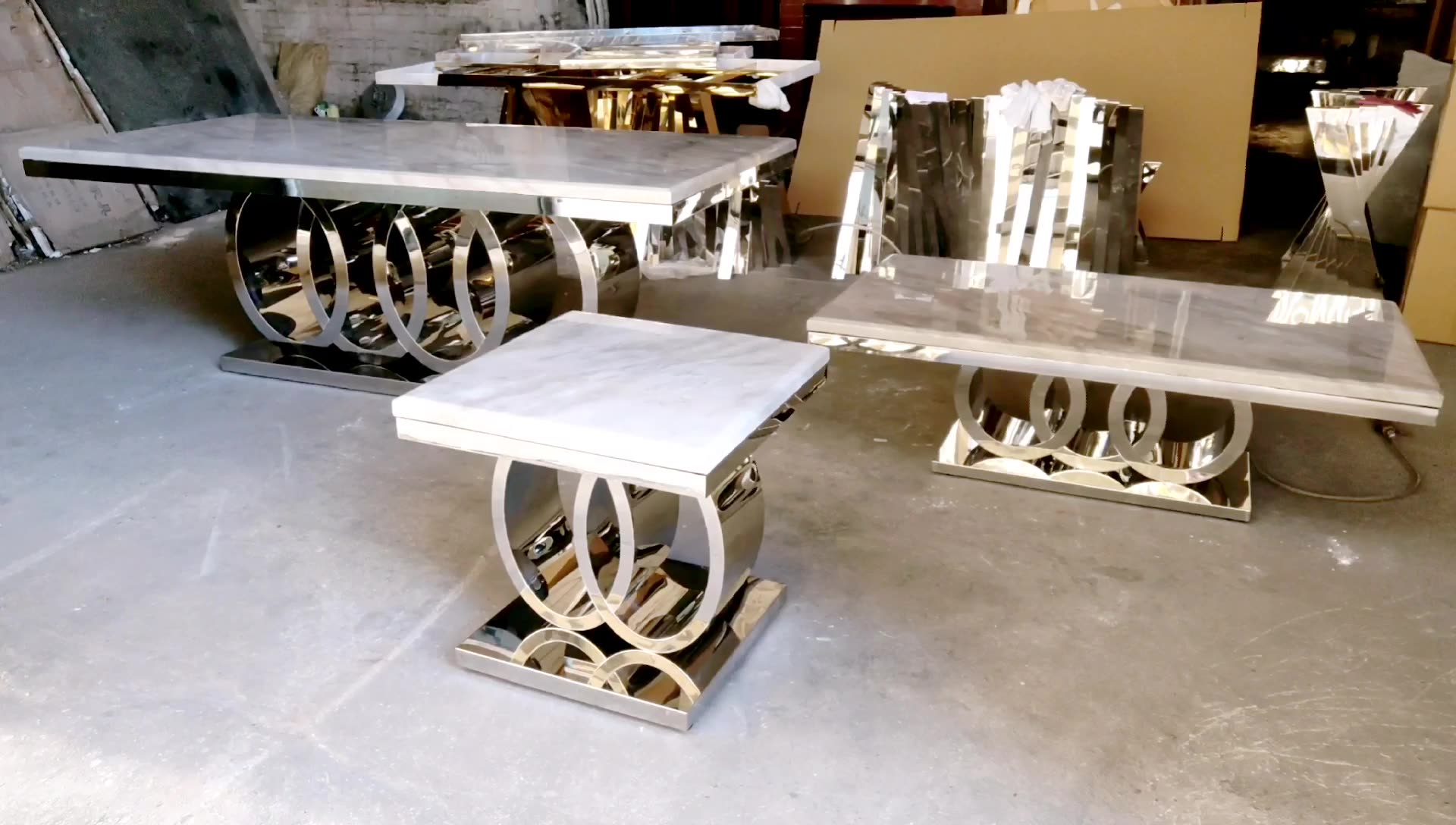 Moderno diseño de mesa de comedor de mármol con 8 sillas