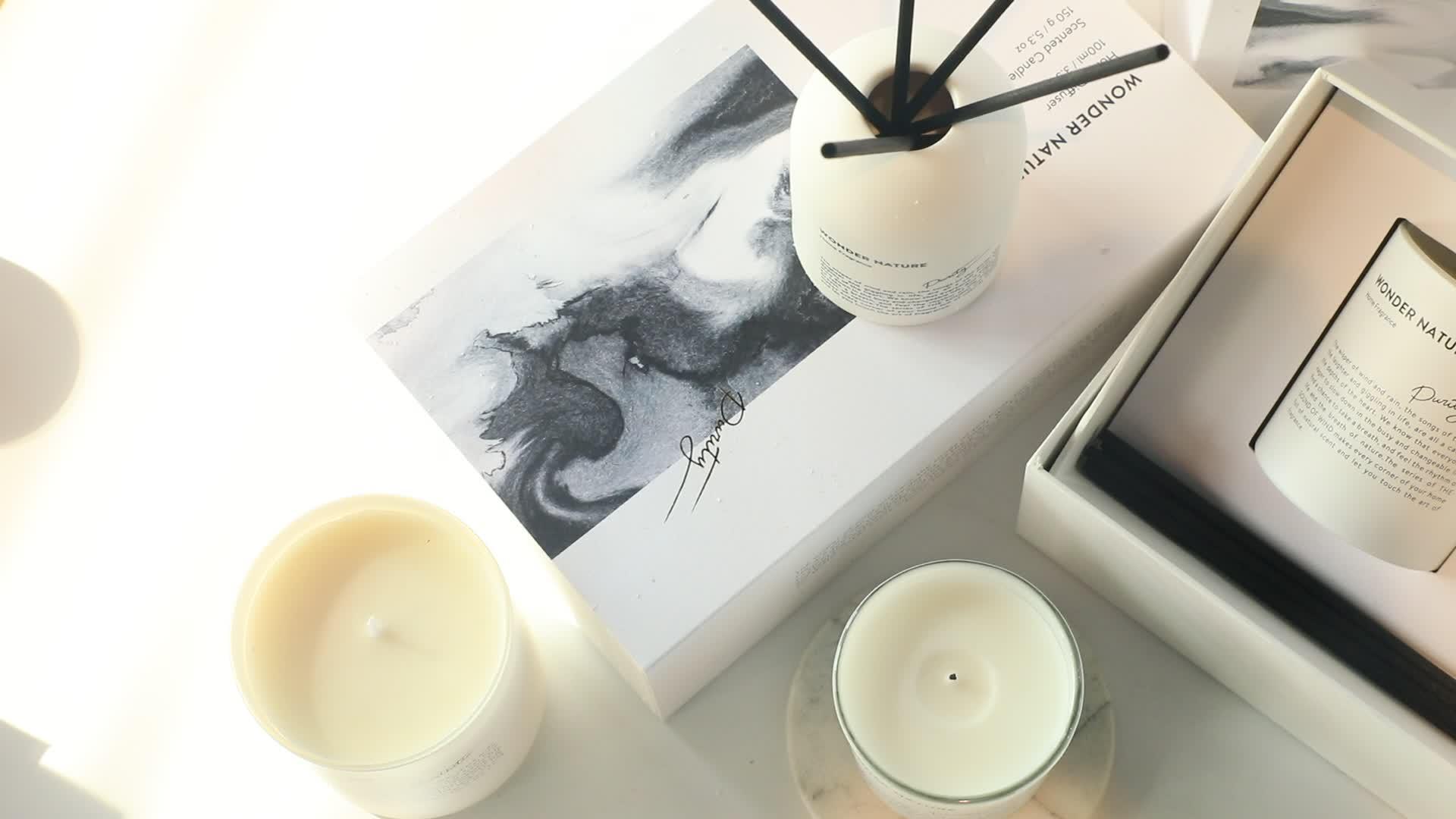 M & GEVOEL Geluid van Wind Collection 8*10.5 cm Berken Blad Glas Luxe Soja Custom Geurkaars
