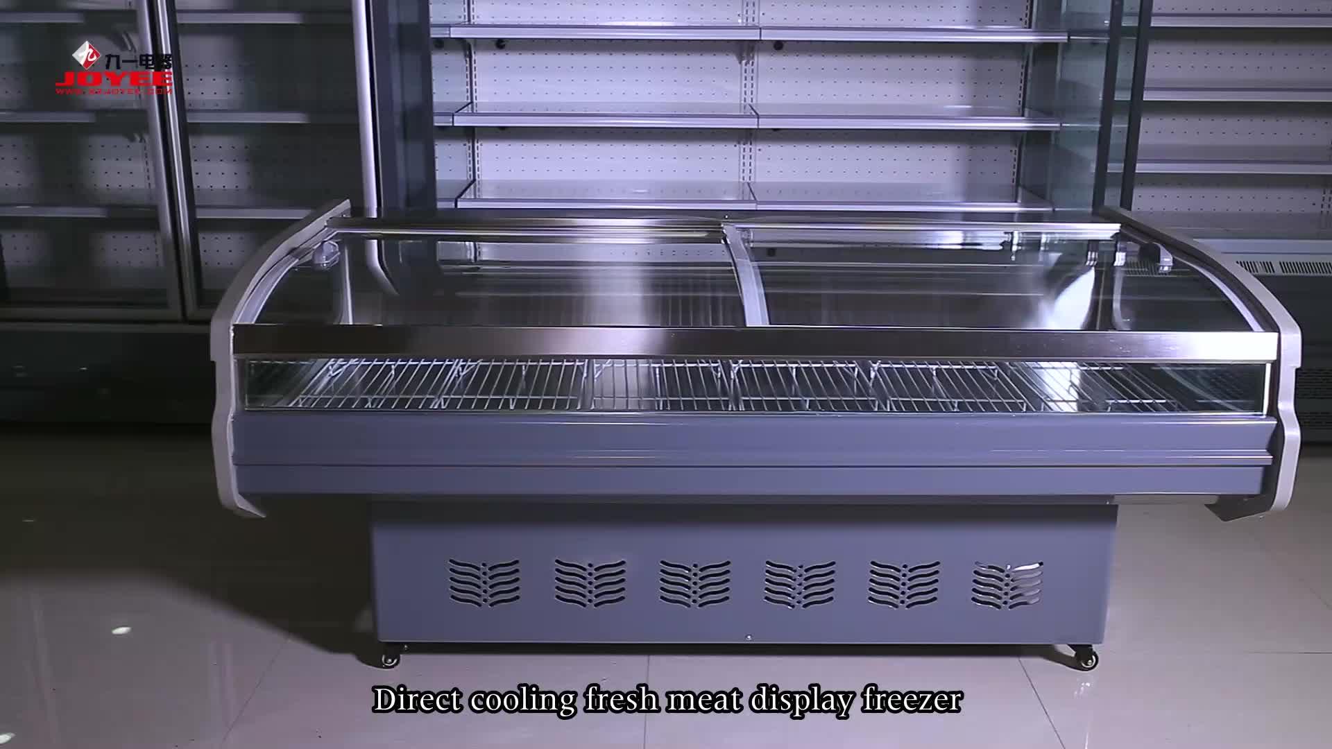 Supermercado comercial abierto fresco enfriador de carne de escaparate de congelador