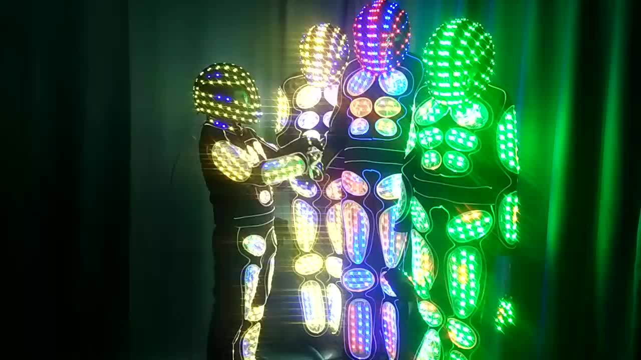 Tron dance programme led robot suit with helmet mask,led suit robot costume for event,led costumes wireless