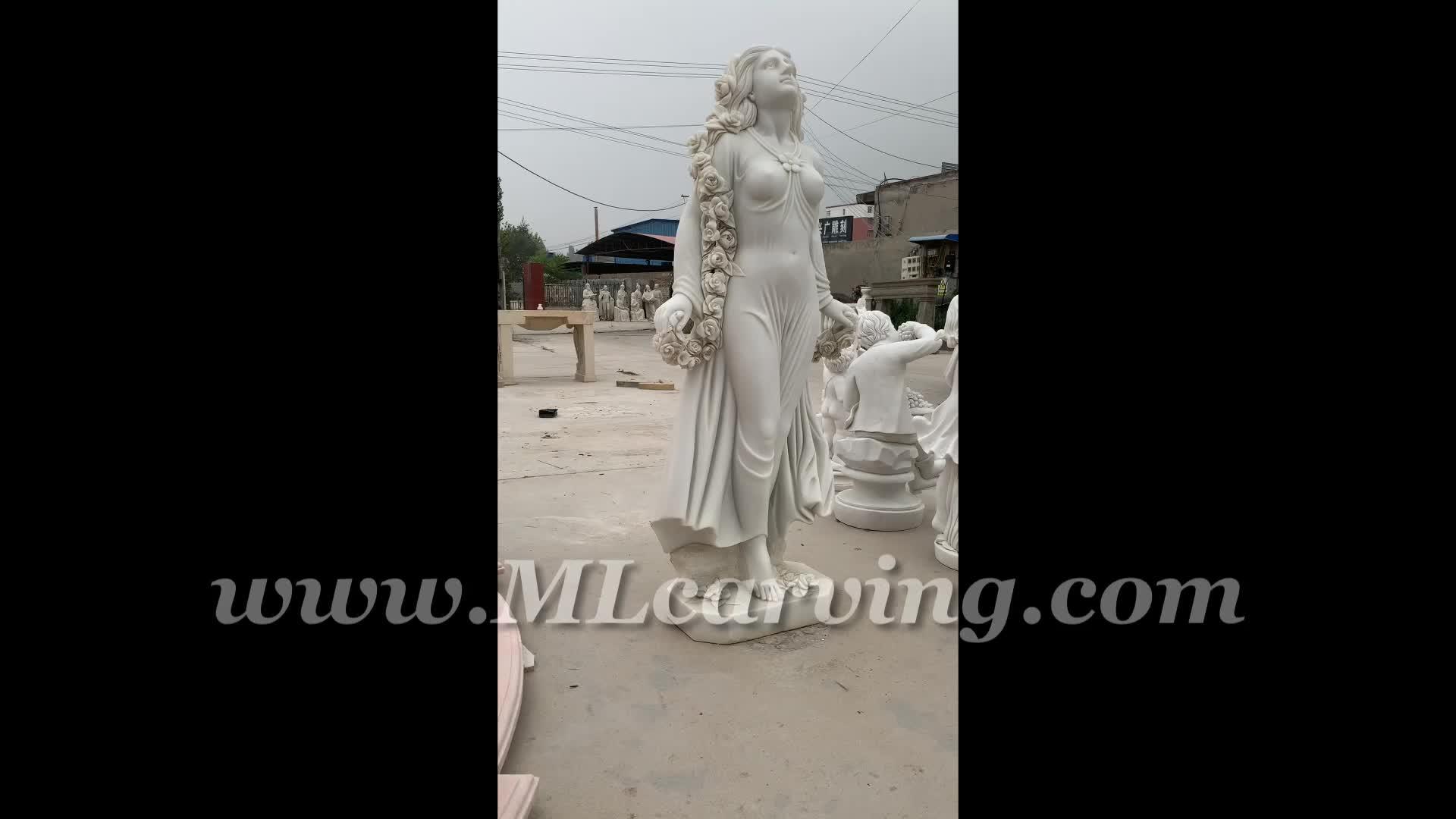 Taille de La Vie en plein air Femmes Statue de Jardin en Marbre MLcarving 191109DLN