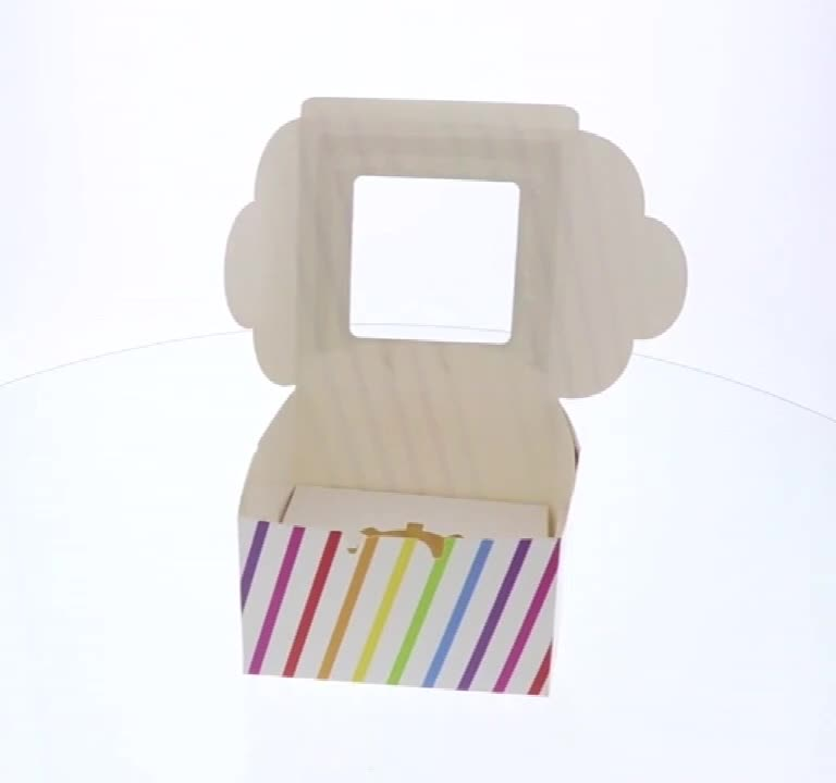 Custom printed mini cupcake boxes with window
