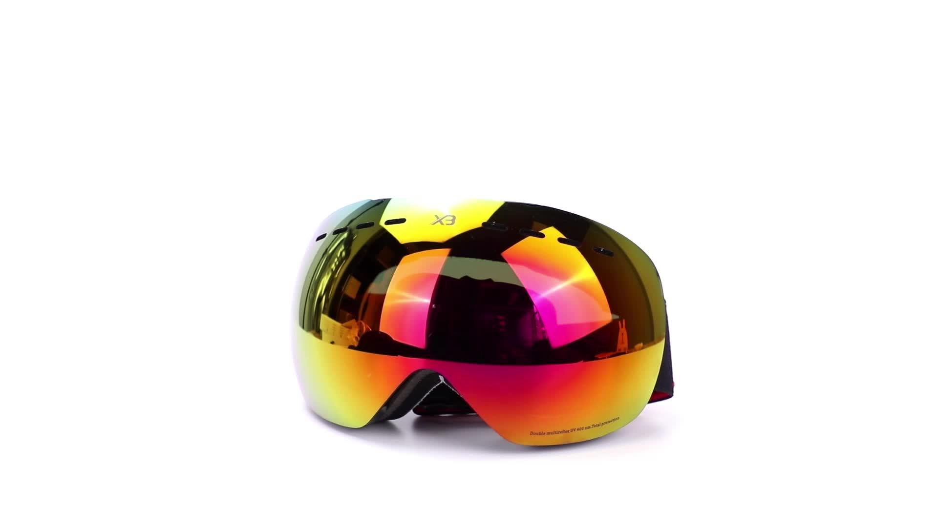 New elegante UV400 designer personalizado TPU multi cor snowboard óculos de esqui