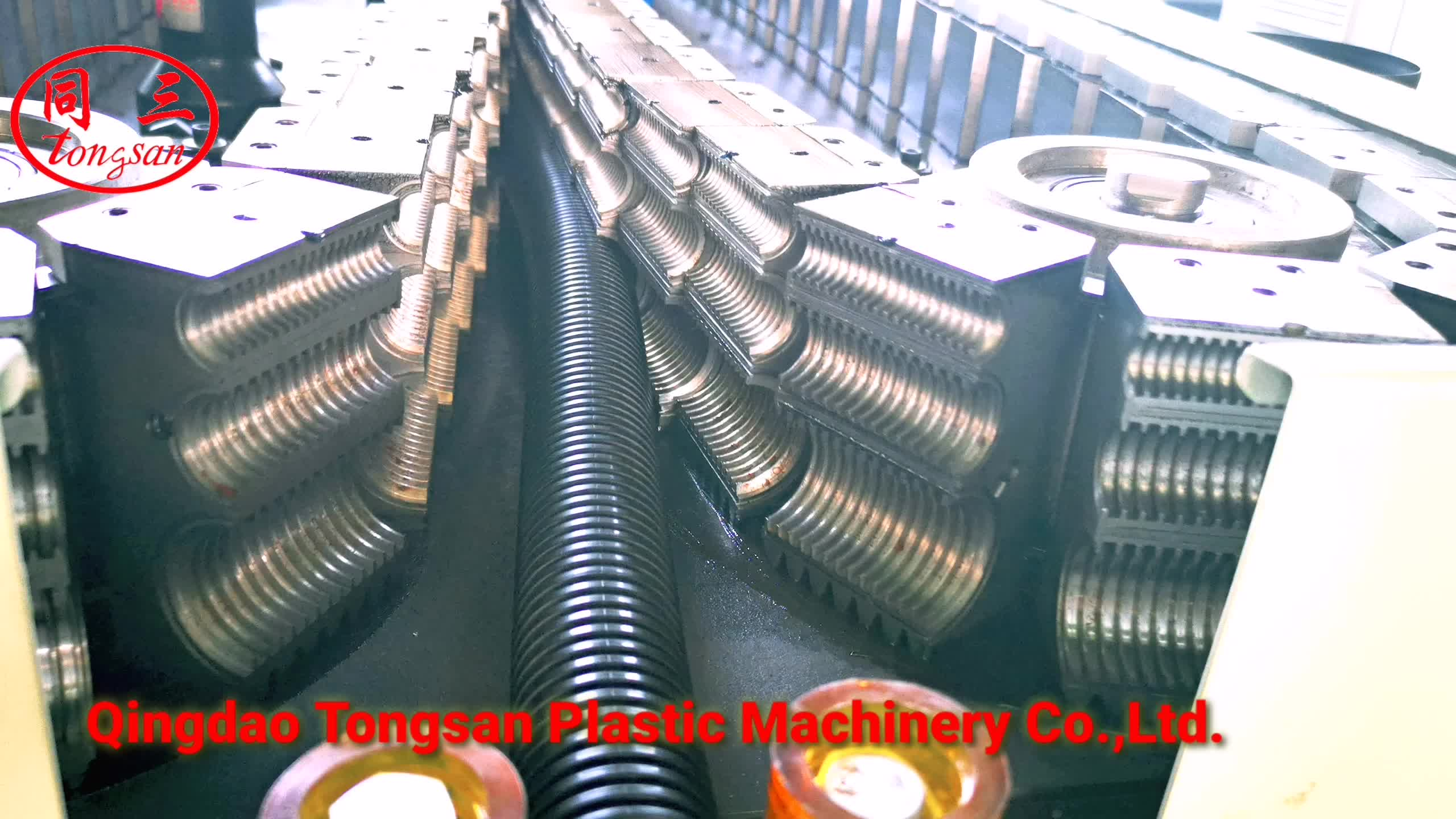 Single wall corrugated pipe with steel line in side making machine  one mold with three size corrugated pipe mold manufacturer