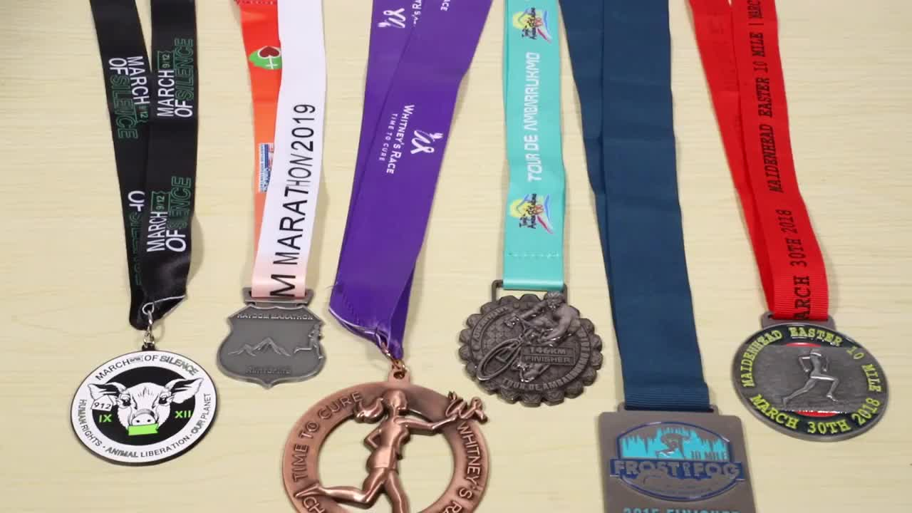 Cheap Custom made design metal sports 5k Running Antique Sliver plating medals with ribbon