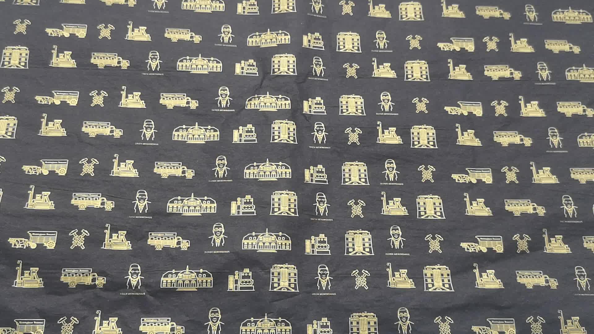 o logotipo personalizado do ouro imprimiu o lenço de papel de algodão de seda preto do presente