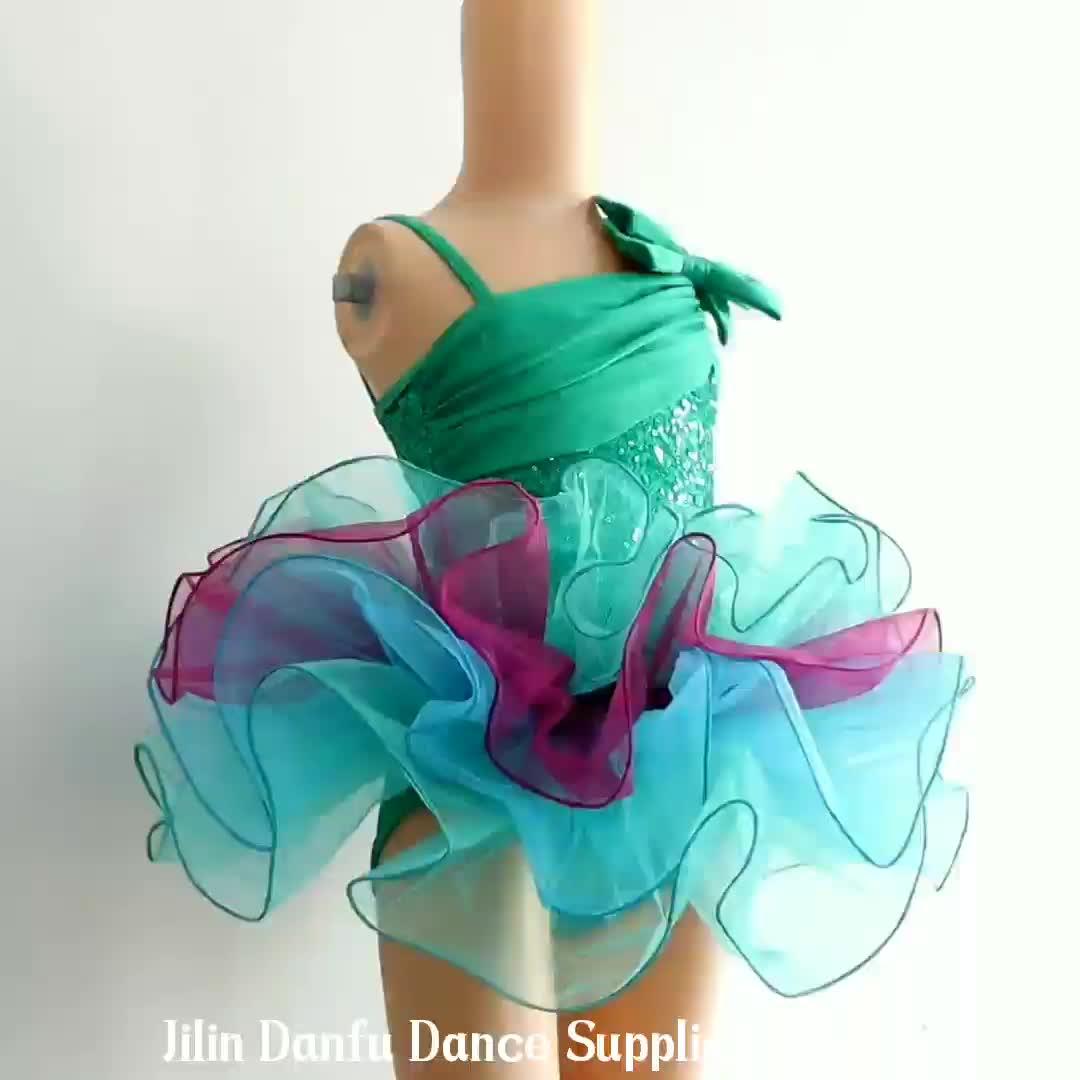 DL041 green ballet tutu Child ballet dress, green sequin Ballerina Dress, waving skirt tutu wholesale kids costumes for dance