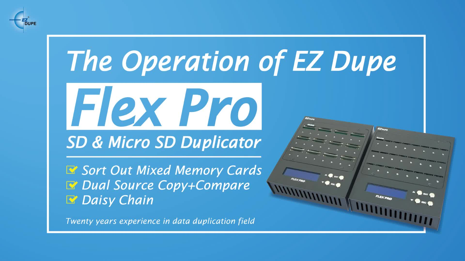 EZ Dupe Portable Flex Pro 1 to 23 targets Micro SD Card Duplicator