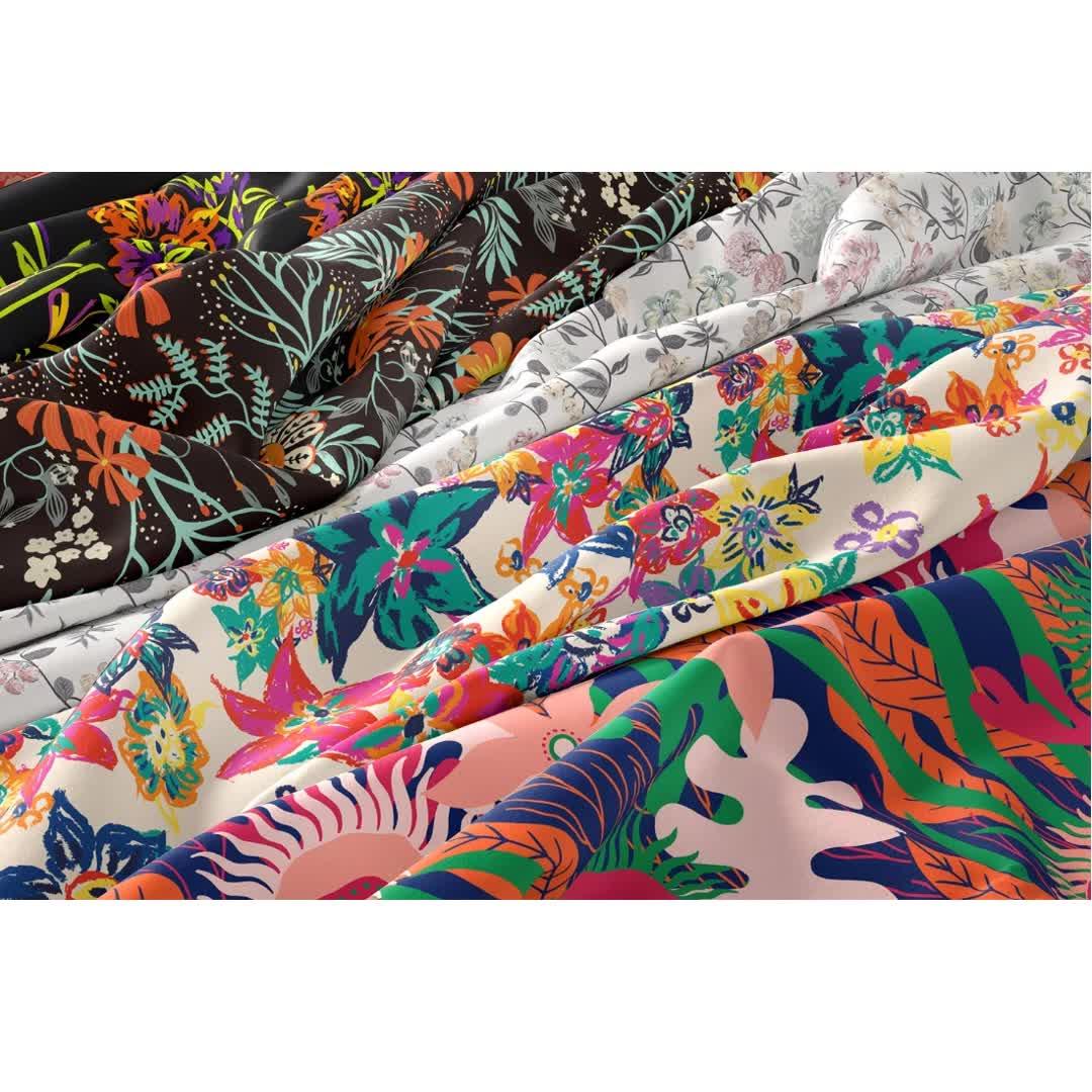 Offre Spéciale en polyester à impression numérique en mousseline de soie floral imprimé tissu