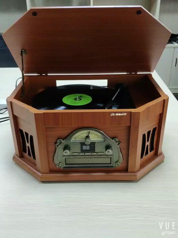 2019 ホット販売アンティーク蓄音機 & 歳レコードプレーヤーターンテーブルとブルー歯、 CD 、 USB 、 SD 、カセット、ラジオ