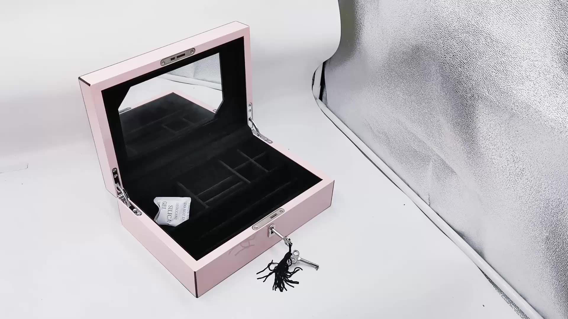 Populaire Houten Doos Sieraden Mode Houten Verpakking Doos Met Spiegel Houten Armband Doos