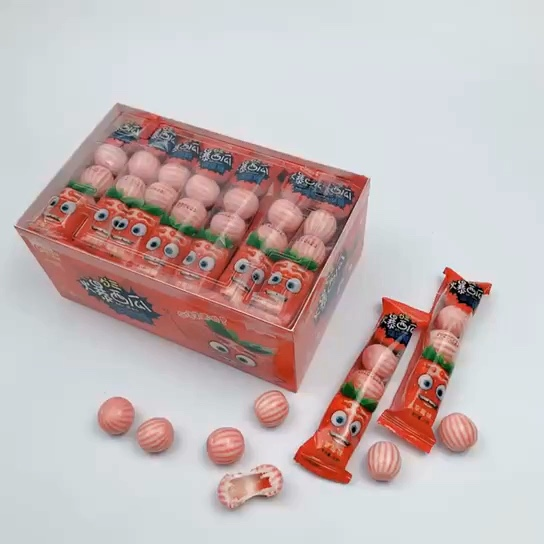 liquid filling bubble gum ball strawberry flavor with jam filling center