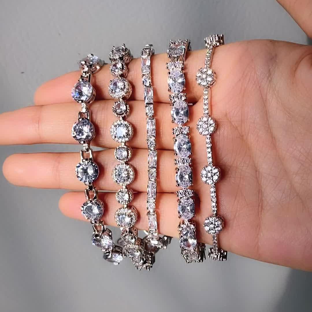 2020 luxe bracelet plaqué or blanc diamant bracelet à breloques avec zircone cubique pour femmes cadeau