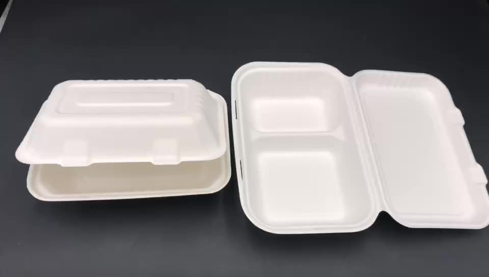 biodegradable disposable tableware compostable 9 inch sugarcane takeout hinged clamshell box bagasse food container