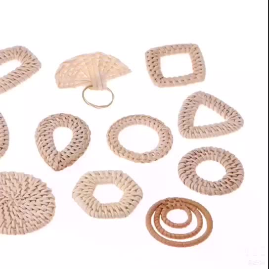 Wholesale Custom Handmade Natural Primary Color Unfinished Rattan Pendant Earrings Keychain Jewelry Accessories