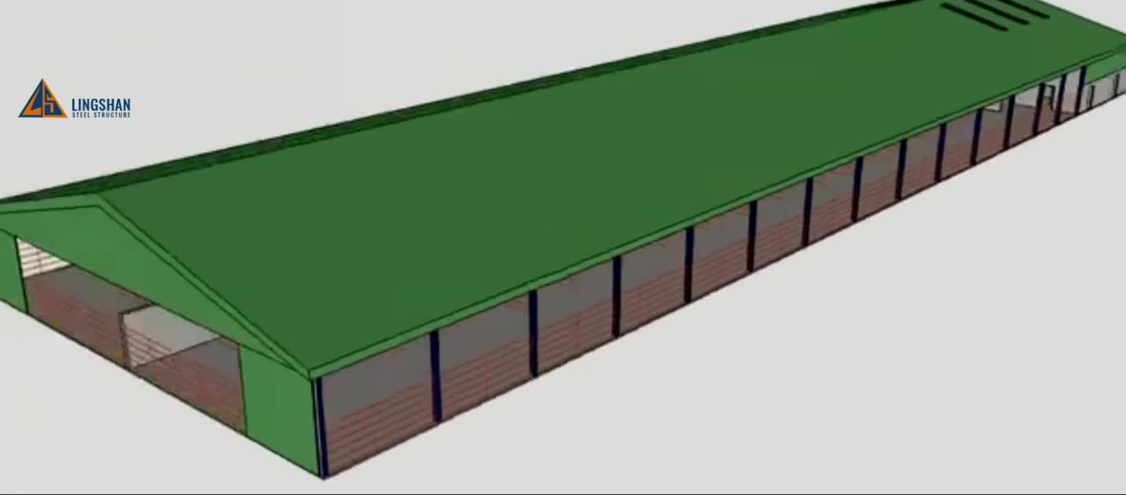 China low cost steel structure cow farm building house shed