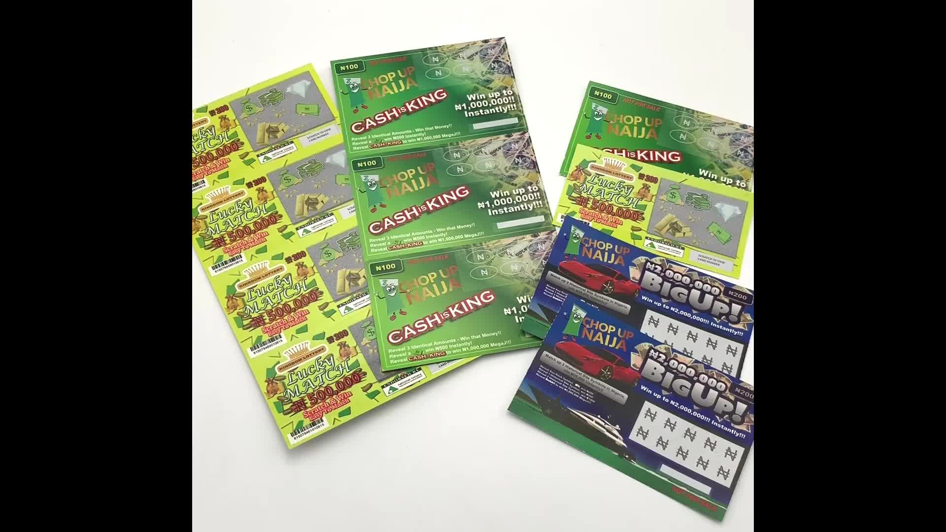Gambling Scratch Lottery tickets Variable Scratch Off Paper Card And Win Cards