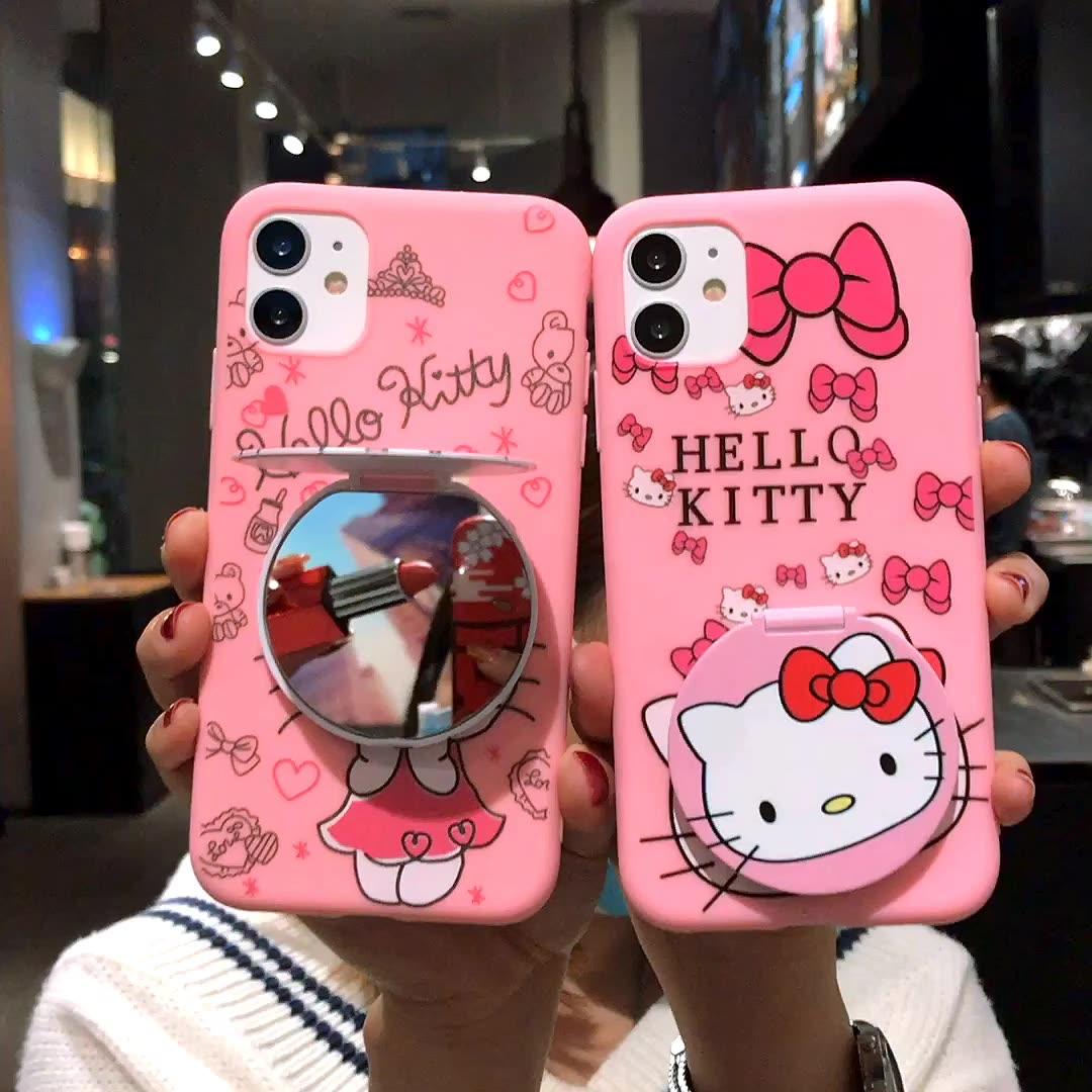 IPhone के लिए Xs अधिकतम X 6 7 8 प्यारा 3D हैलो बिल्ली दर्पण किट्टी के साथ Kickstand फोन के मामले में
