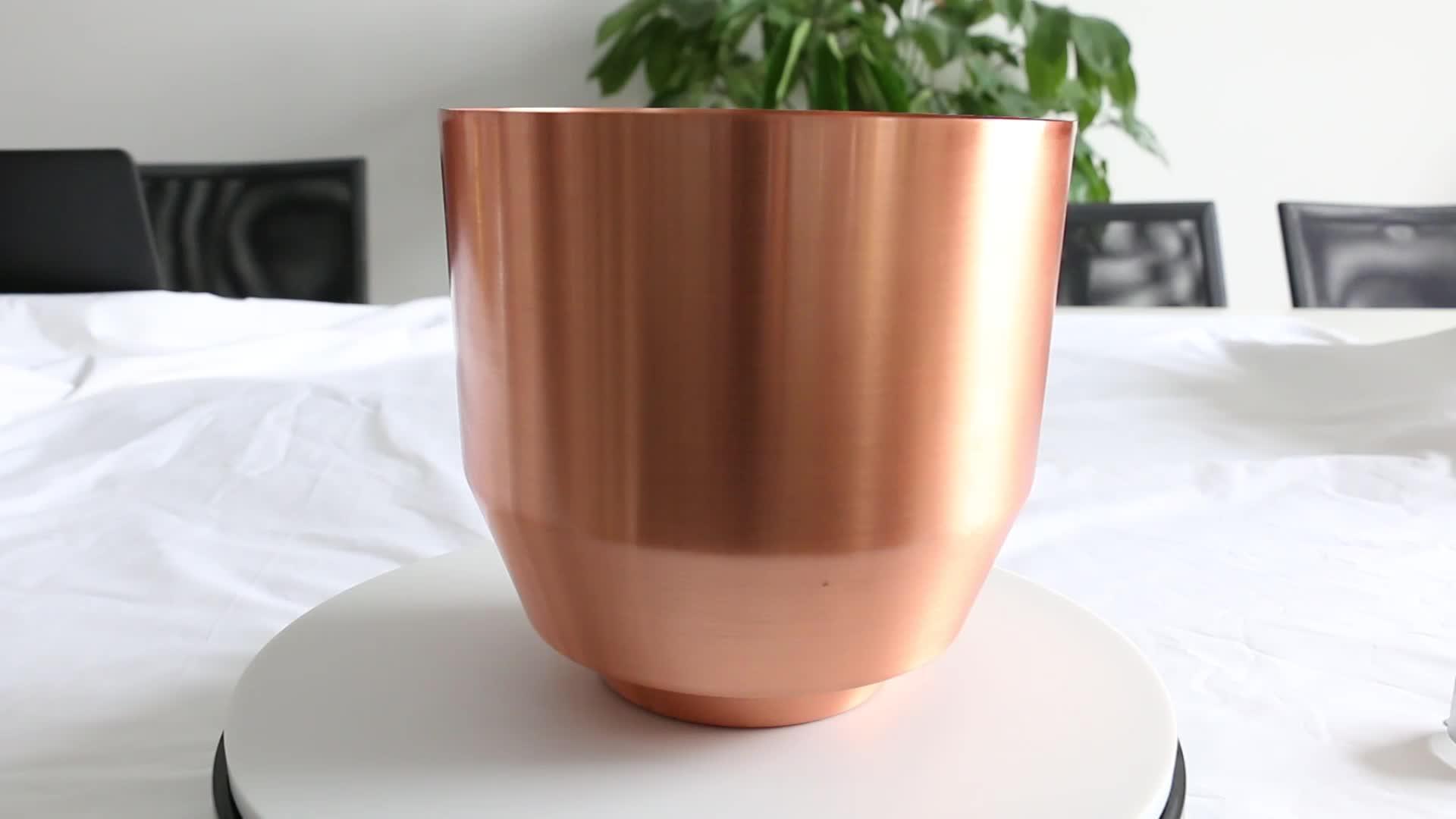 Wotech metal spinning small outdoor copper brass flower planter