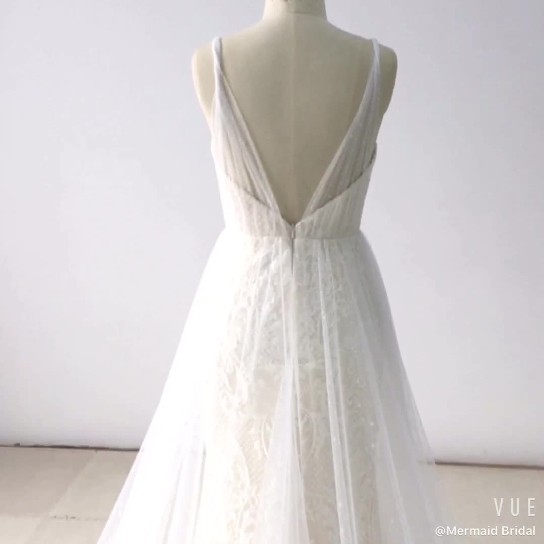 New lace wedding gown bride suzhou wedding dress with tulle train