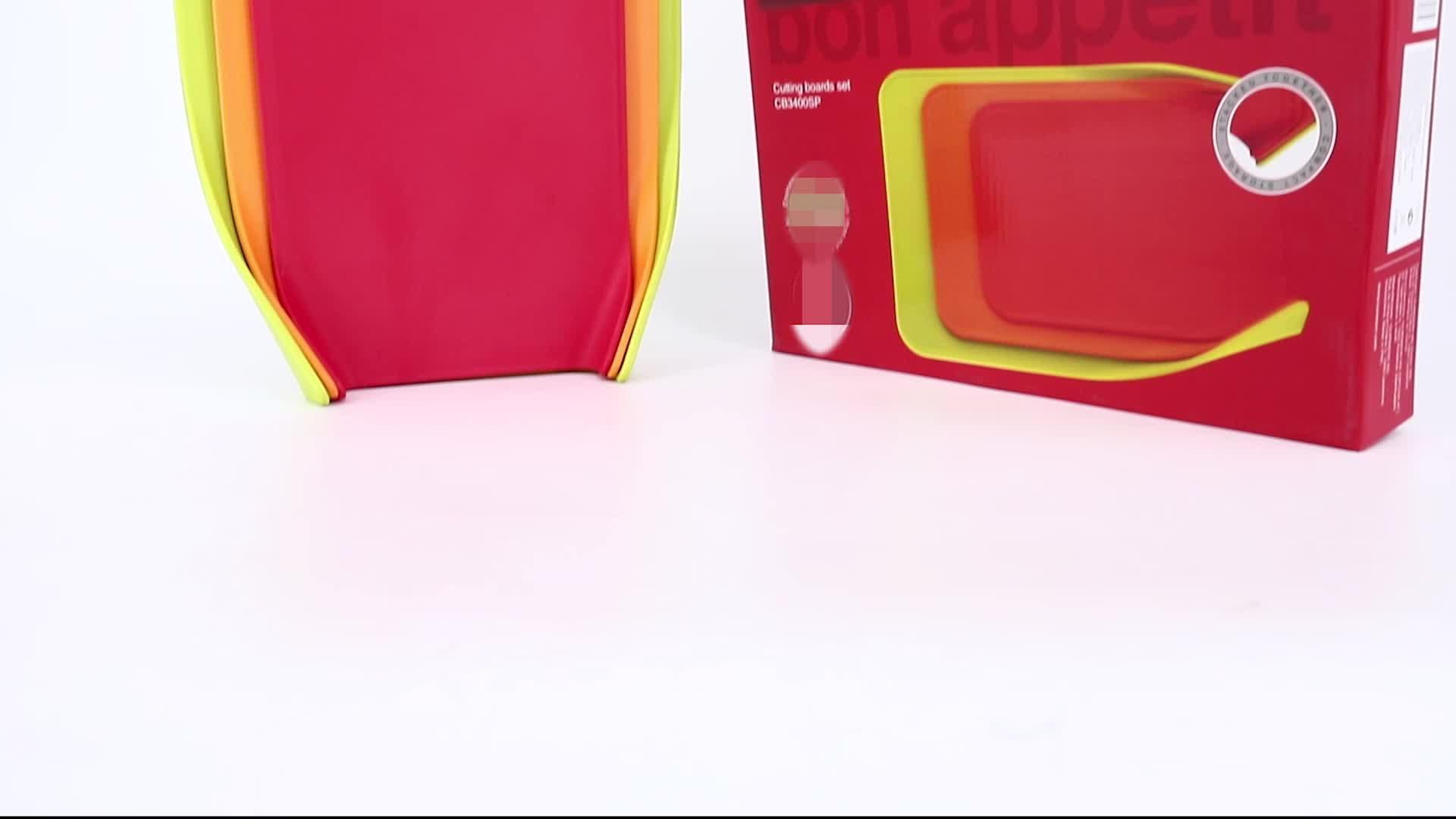 Accesorios Para Muebles 드 Cocina 도마 세트 비 슬립 유연한 플라스틱 3 조각 접이식 컬러 도마 세트
