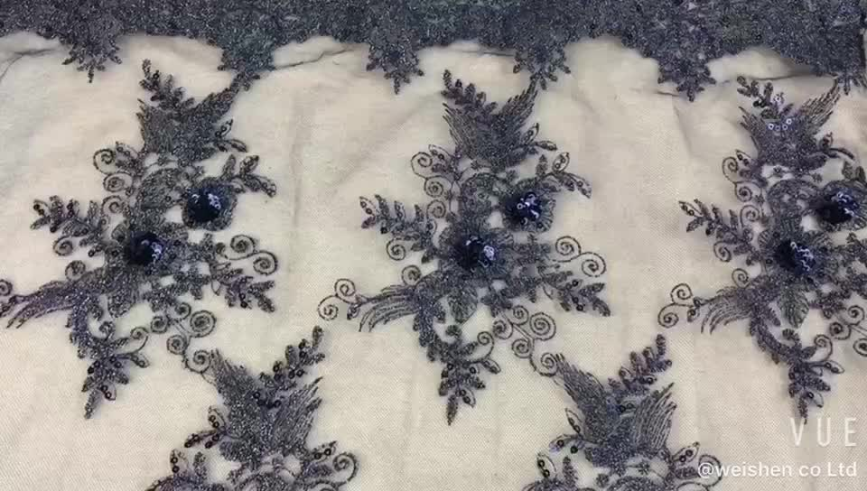 Flower Embroidery Mesh Lace Design Textile New 2019 Embroidered Sequin Fabric