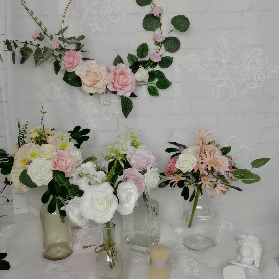 Hochzeit Dekoration Metall Hoop Kranz, 48CM Künstliche Schaum Blume für Wand Dekor Hochzeit Hintergrund