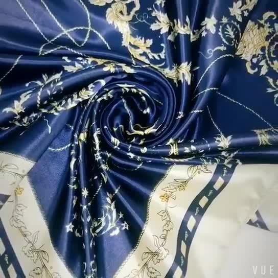 Women Lady Square Scarf High Quality Printed Satin Hijab Bandana Head Neck Wrap Scarves 90*90cm