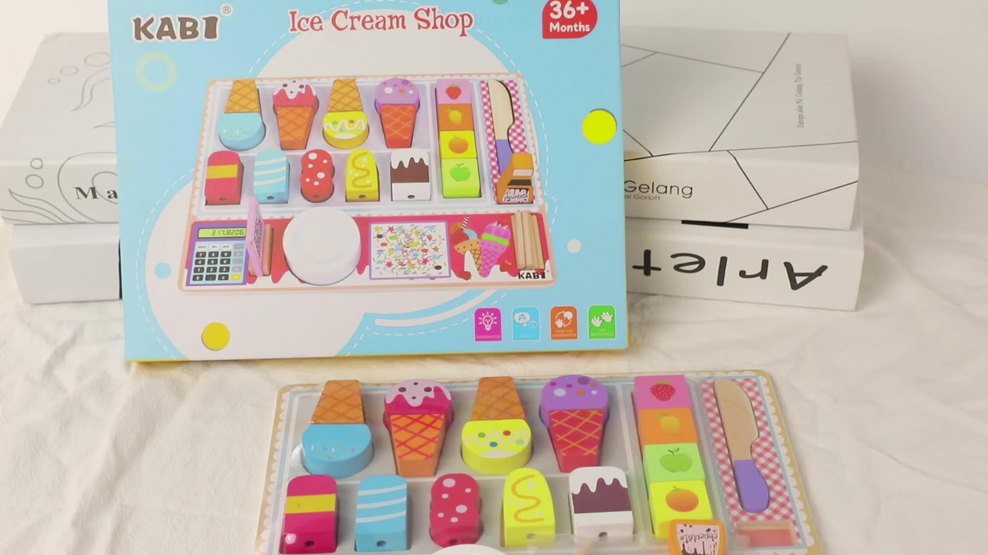 ไม้เล่น Icecream ของเล่น,Ice Cream Shop เชื่อมต่อแม่เหล็กบล็อกตัดของเล่น
