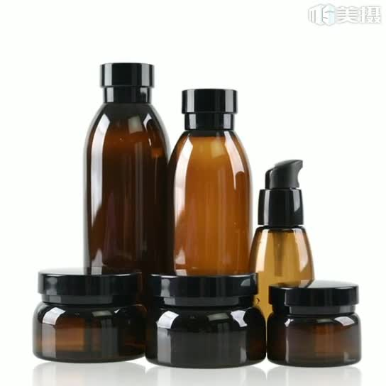Amber PET plastic cosmetic bottle and jar container