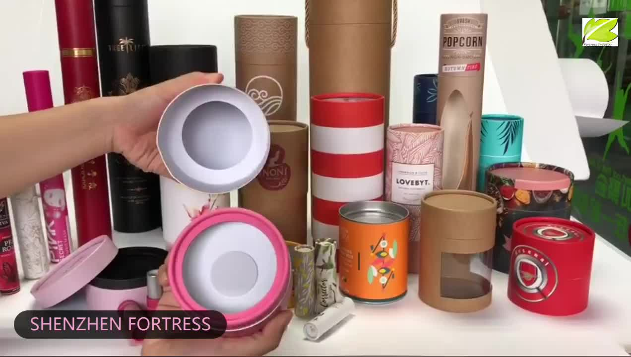 small unique food grade recycle brown craft paper tea tube box packaging