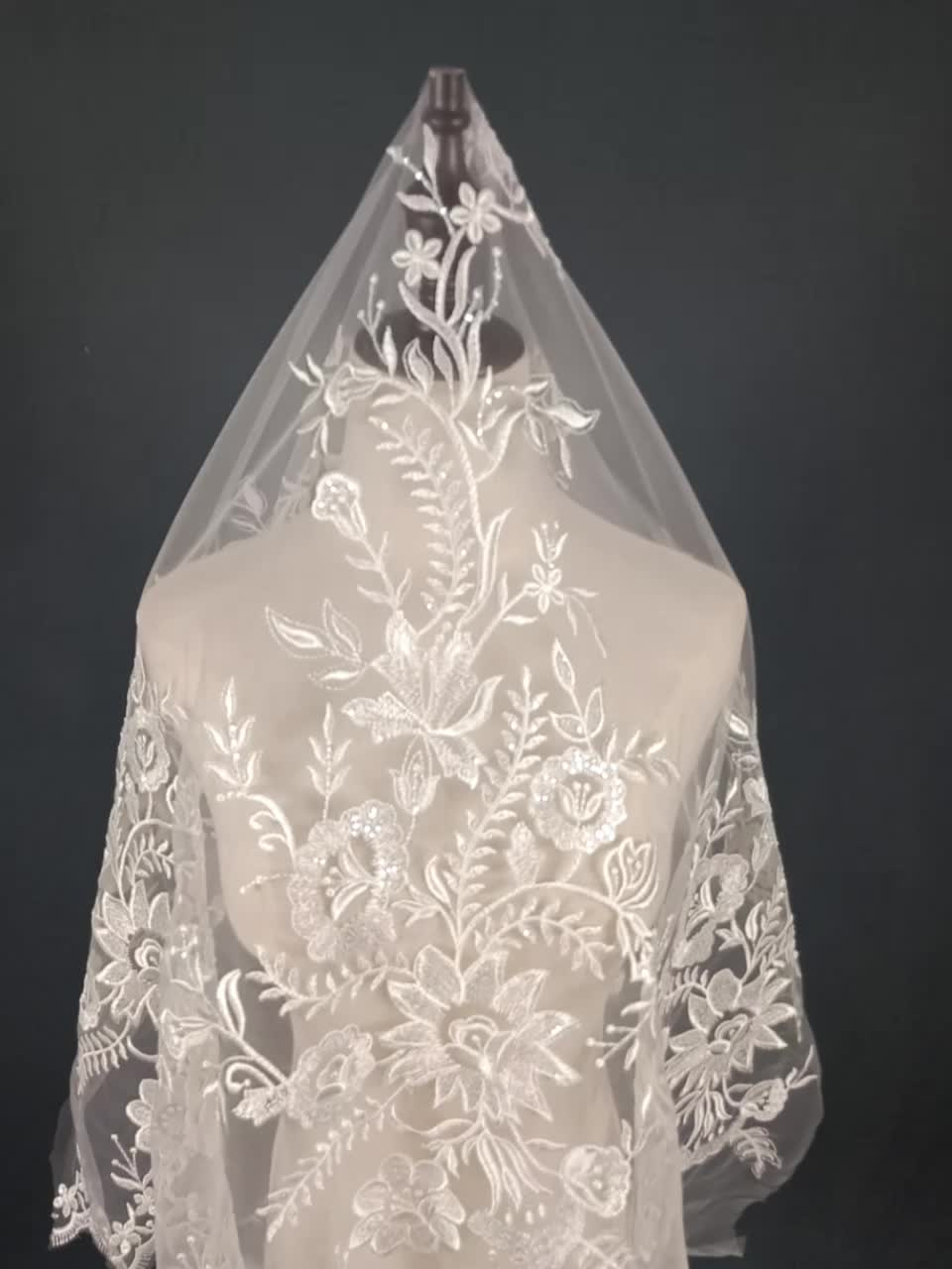 Sequined  embroidery lace fabric wedding dress Luxurious lace fabric