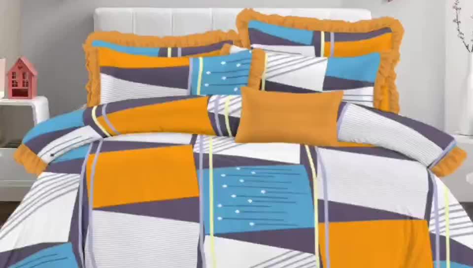 インド市場 100% ポリエステルマイクロファイバーシーツ寝具セット
