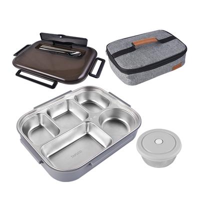 日本泰福高饭盒不锈分格钢餐盘防烫便当盒配保温袋餐盒上班族学生