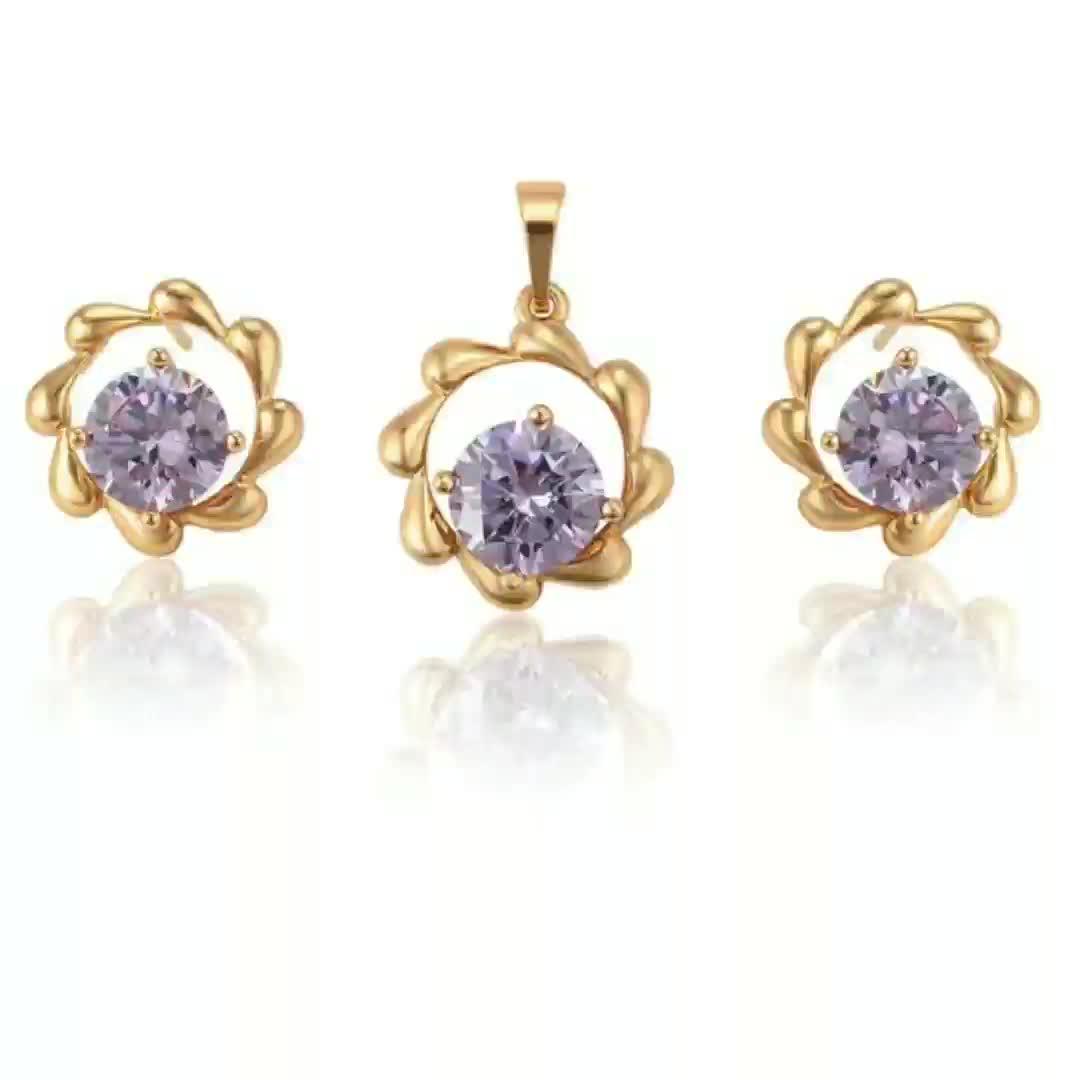 Set 003 xuping fashion purple 돌 jewelry set made in China