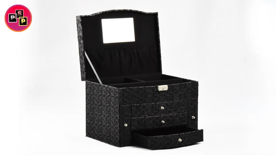 Luxury fashion handmade black pu leather & velvet lining jewelry box with mirror