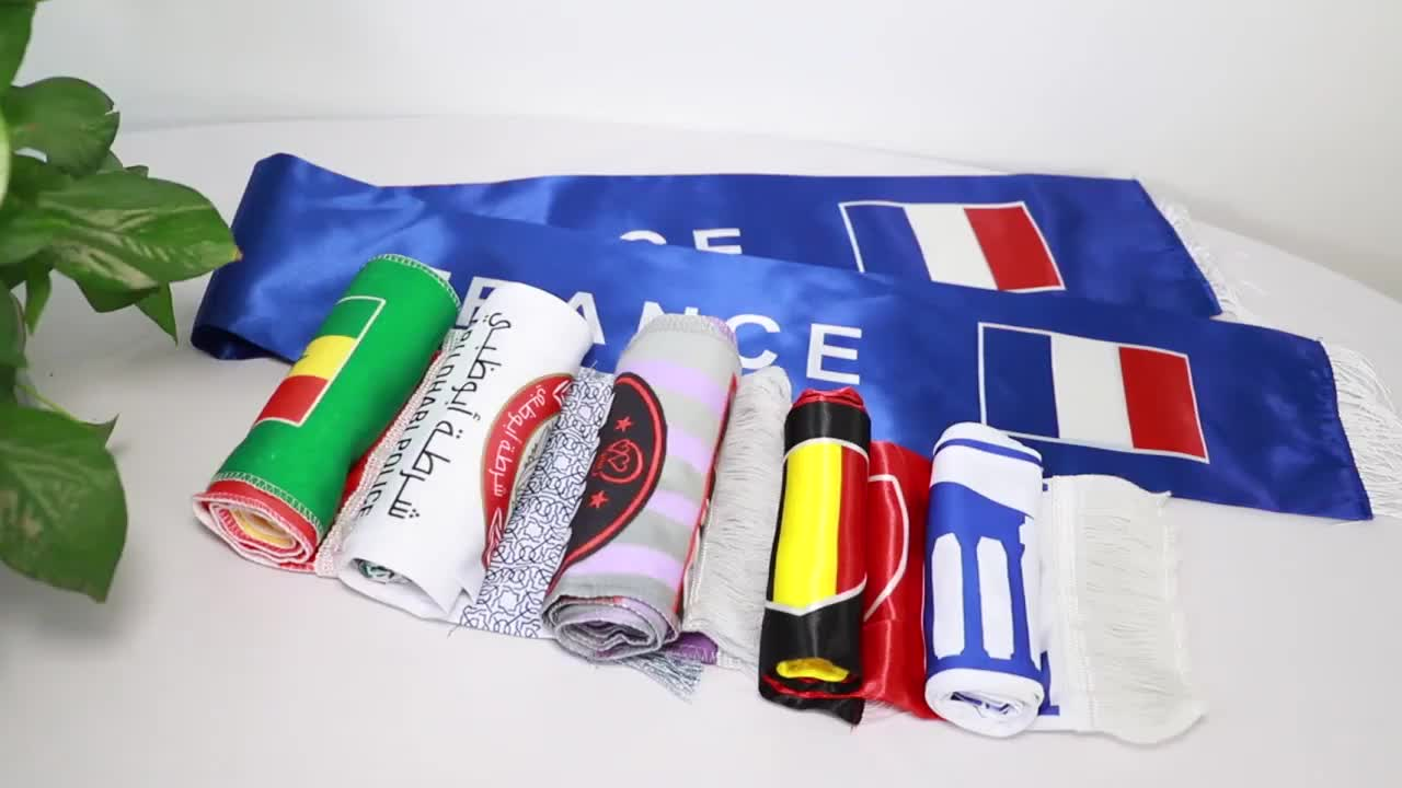 free sample chuangdong factory custom printing  scarf polyester  custom design and size   football scarf