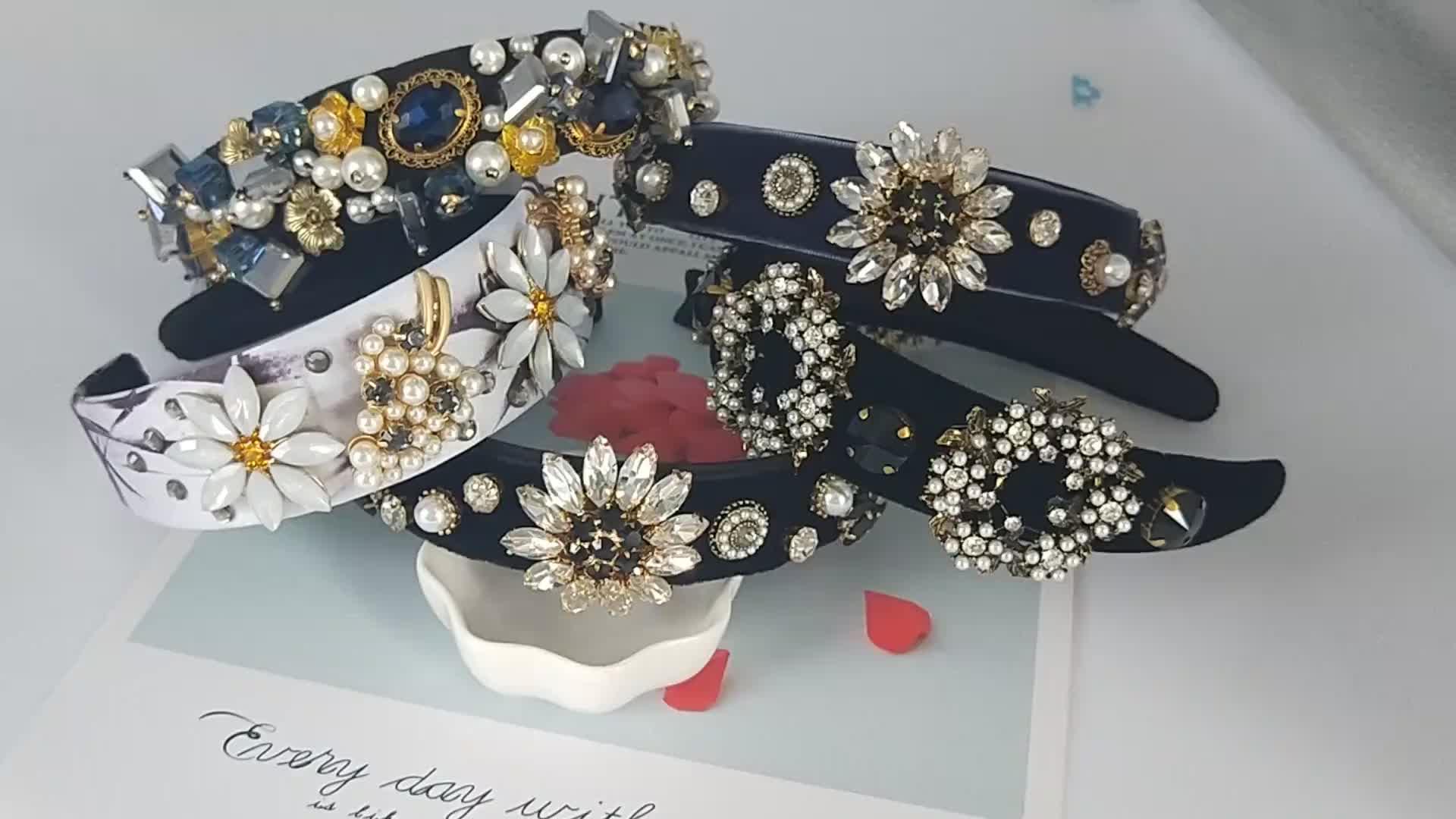Euramerican Luxury custom new design party hair band girls hairbands rhinestone pearl baroque headband crystal for women